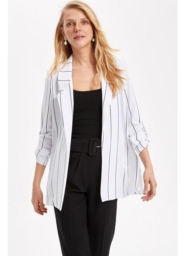 DeFacto Çizgili Blazer Ceket Beyaz
